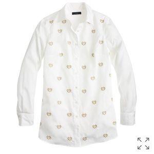J Crew Bullion Hearts Button Down Shirt