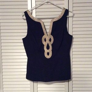 Lilly pulitzer tank top. Navy and gold.