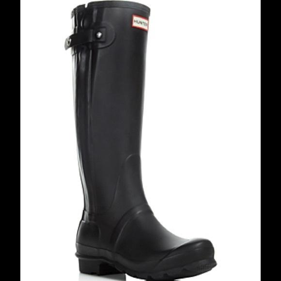 507b012302a Hunter Boots Shoes - Hunter Original Slim Textured Black Rain Boots