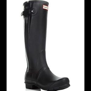 Hunter Original Slim Textured Black Rain Boots
