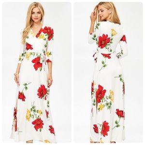 Off White Floral Print Maxi Wrap Dress NWT