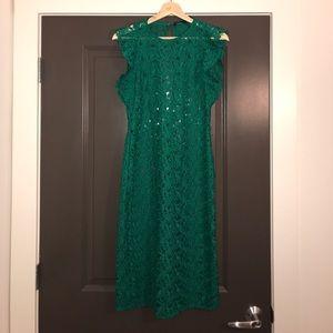 Zara green lace pencil dress size L