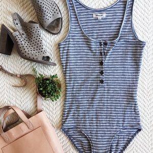 Madewell striped henley bodysuit
