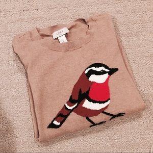 Ann Taylor LOFT red bird thin sweater tan size S