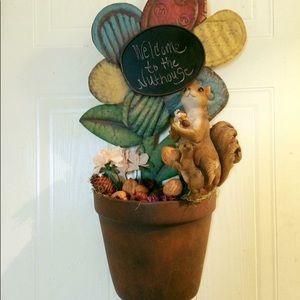 Other - Flowerpot Squirrel Nuthouse Chalkboard Door wreath