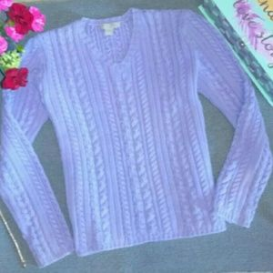 J. Crew Lavender Cable Knit Sweater