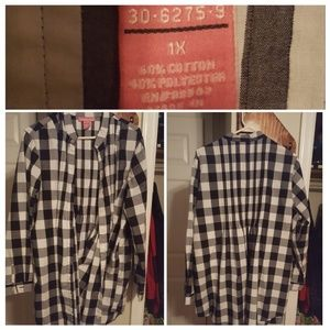 Women within black and white plaid tunic top