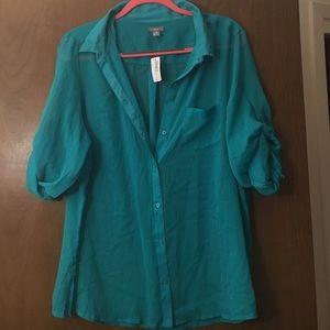 Teal sheer blouse