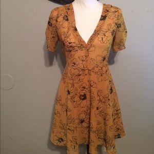 Mustard Yellow flower printed dress