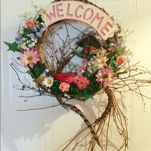 Other - Red Cardinals Birdhouse Welcome wreath