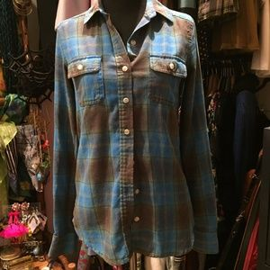 Blue, brown, yellow fitted flannel