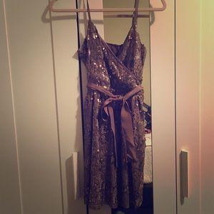 Express Gold Sequin Dress