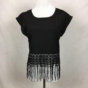 Monteau boho fringe cropped top crochet black