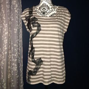 Ann Taylor LOFT scoop neck with lace detail Sz L