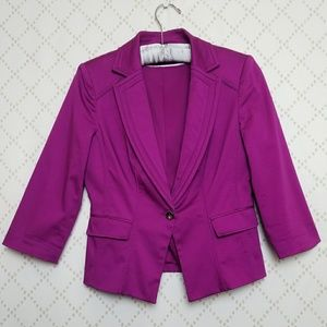 WHBM Cotton Sateen Stretch One Button Jacket