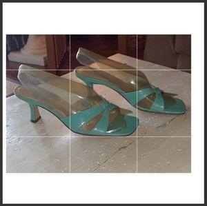 Turquoise backless heels