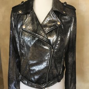 Jackets & Blazers - Silver moto jacket in leather NWTAGS