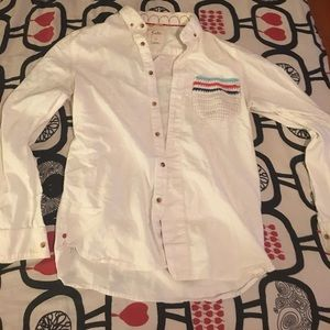 men's white button down with knit pocket