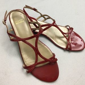 Stuart Weitzman Red Strappy Sandals