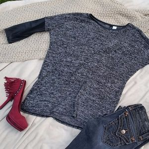Melange Knit Leather Detailed Sweater