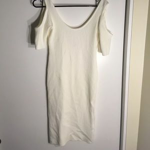 Cream long warm dress with scoop in back