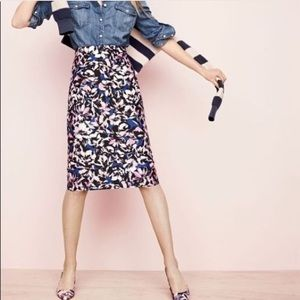 J Crew A-line hibiscus skirt