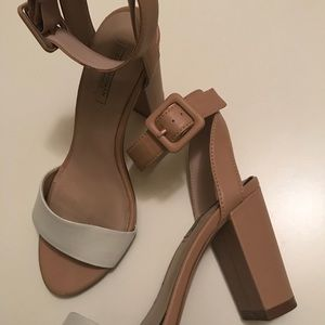 ZARA White & Nude Block Heel Ankle Strap Sandals