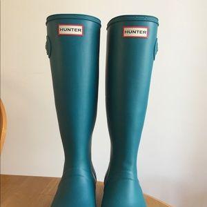 Blue Tall Hunter Boots, worn twice total brand new