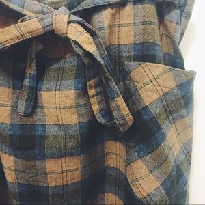 Tie front plaid skirt