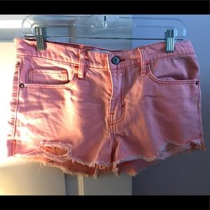 salmon pink high waisted cutoff ambercombie shorts