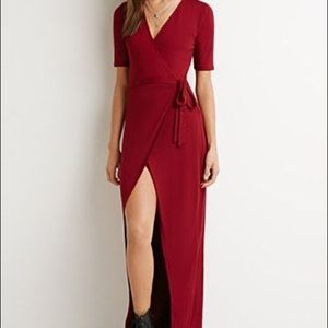 Red wrap front midi-dress
