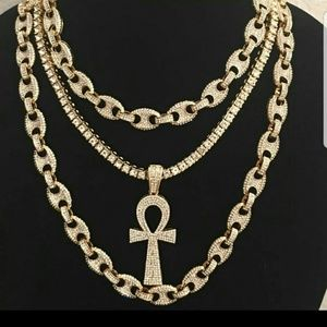 14K GOLD PLATED ICED OUT QUAVO CHAINS SET