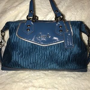 Coach satin satchel and matching accordion wallet.