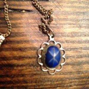 Vintage necklace blue design pendant