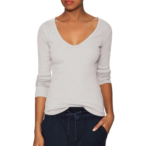 d431aea0725f76 James Perse Tops | Cotton Rib Vneck Tee | Poshmark