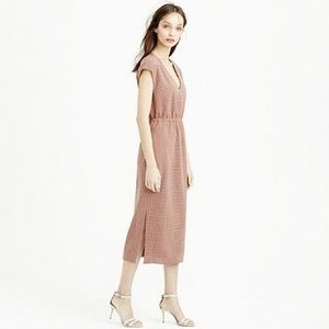 J. Crew Mauve Drapey Perforated Midi Dress