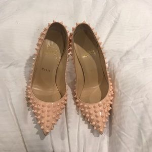 Christian Louboutin Spiked Pumps / tan peach color