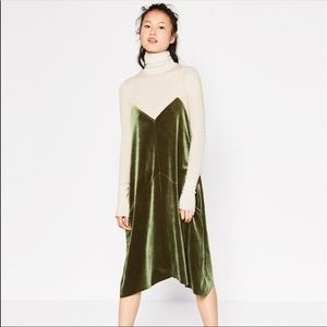 Zara Velvet Slip dress size small WORN ONCE