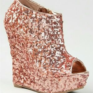 Rose gold sequin wedges