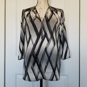 DKNY Zip Front Abstract Print Blouse