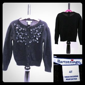 Hartstrings Black Cardigan Sweater w Bow Detailing