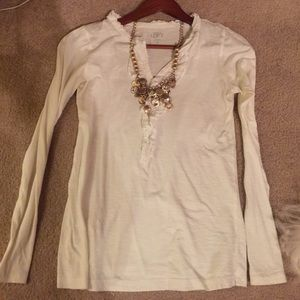 Loft white long sleeve tee with neckline detail
