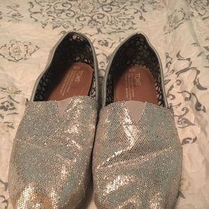 Silver Glitter Toms Size 9