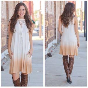 Ombré Lace Up Front Tunic Dress