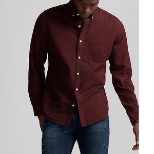 EXPRESS maroon button down dress shirt
