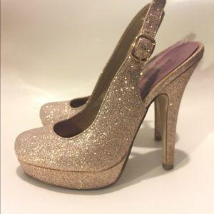 Madden Girl rose gold platform heels
