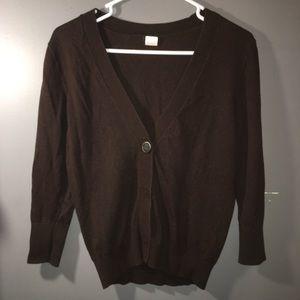 Brown V Neck Cardigan Sweater