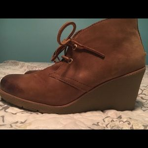 Leather Sperry Harlow Wedges Cognac size 9