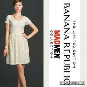 Banana Republic Fit and Flare cream lace dress