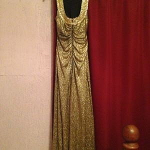 Beautiful gold beaded halter neck long prom dress